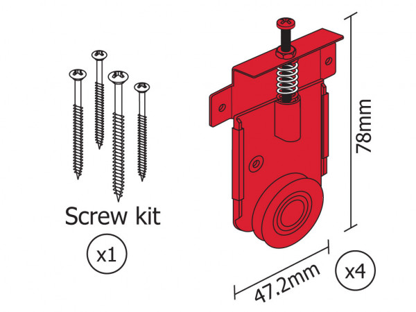1 Door Fastor Kit Hardware 60kg